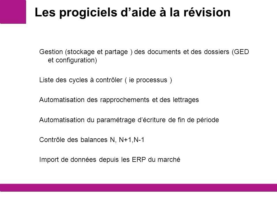 Les progiciels daide à la révision 1 Gestion (stockage et partage ) des documents et des dossiers (GED et configuration) Liste des cycles à contrôler ( ie processus ) Automatisation des rapprochements et des lettrages Automatisation du paramétrage décriture de fin de période Contrôle des balances N, N+1,N-1 Import de données depuis les ERP du marché