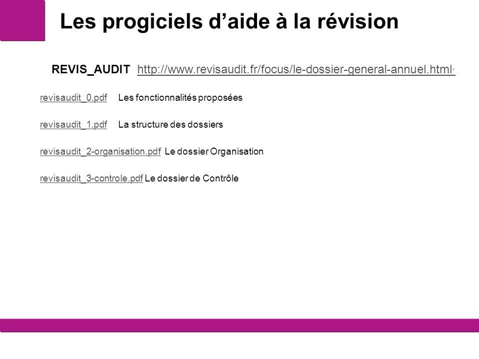 Les progiciels daide à la révision 10 REVIS_AUDIT http://www.revisaudit.fr/focus/le-dossier-general-annuel.html·http://www.revisaudit.fr/focus/le-dossier-general-annuel.html· revisaudit_0.pdfrevisaudit_0.pdf Les fonctionnalités proposées revisaudit_1.pdfrevisaudit_1.pdf La structure des dossiers revisaudit_2-organisation.pdfrevisaudit_2-organisation.pdf Le dossier Organisation revisaudit_3-controle.pdfrevisaudit_3-controle.pdf Le dossier de Contrôle