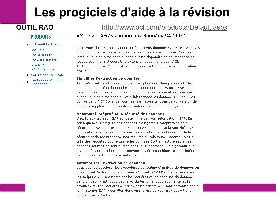 Les progiciels daide à la révision 11 OUTIL RAO http://www.acl.com/products/Default.aspxhttp://www.acl.com/products/Default.aspx