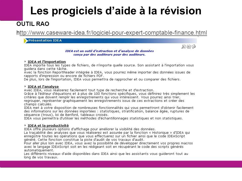 Les progiciels daide à la révision 12 OUTIL RAO http://www.caseware-idea.fr/logiciel-pour-expert-comptable-finance.htmlttp://www.caseware-idea.fr/logiciel-pour-expert-comptable-finance.html