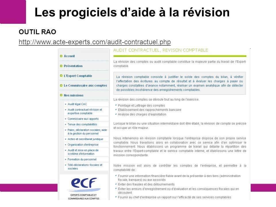 Les progiciels daide à la révision 13 OUTIL RAO http://www.acte-experts.com/audit-contractuel.php