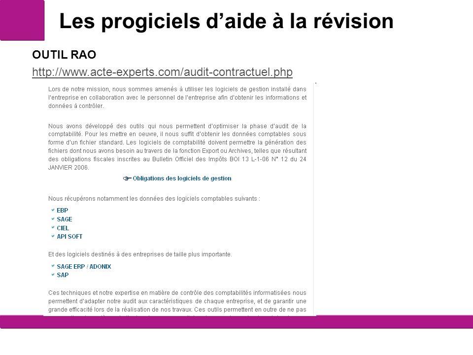 Les progiciels daide à la révision 14 OUTIL RAO http://www.acte-experts.com/audit-contractuel.php