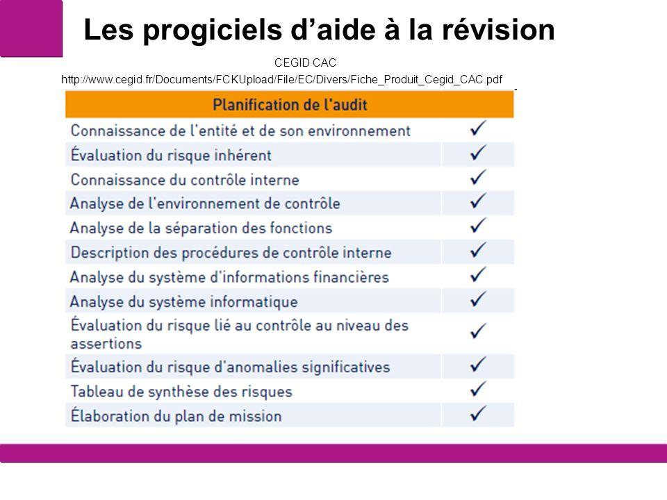 Les progiciels daide à la révision 3 CEGID CAC http://www.cegid.fr/Documents/FCKUpload/File/EC/Divers/Fiche_Produit_Cegid_CAC.pdf