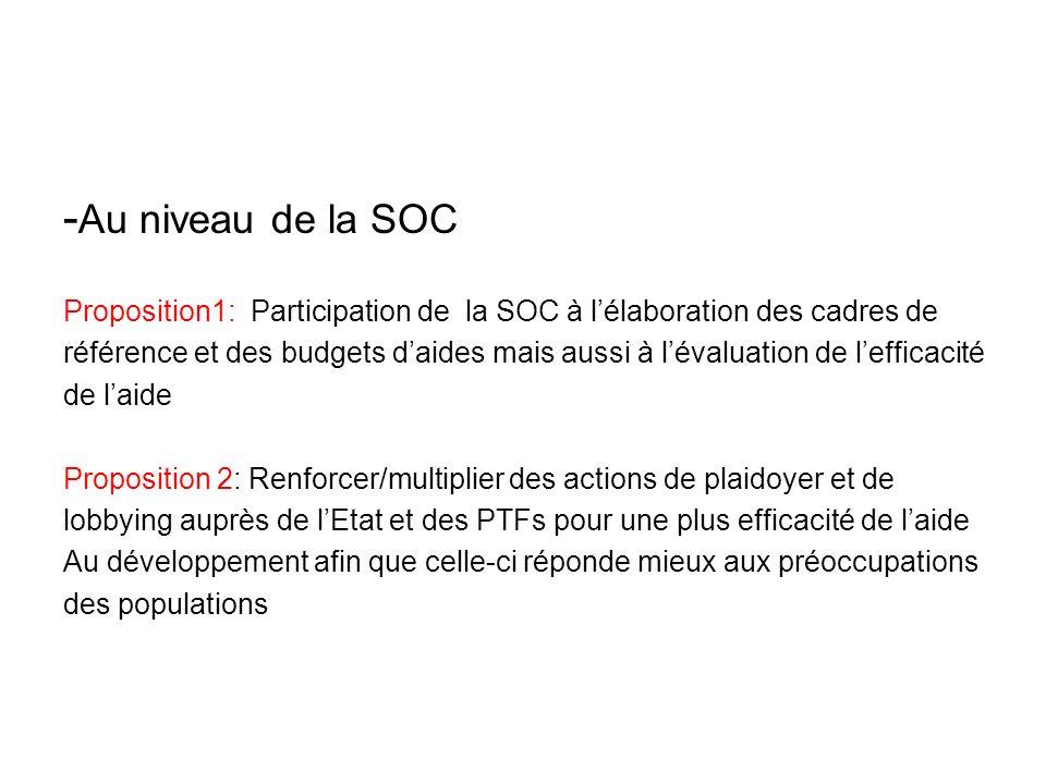 - Au niveau de la SOC Proposition1: Participation de la SOC à lélaboration des cadres de référence et des budgets daides mais aussi à lévaluation de l