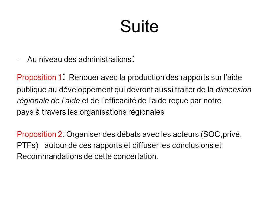 Suite -Au niveau des administrations : Proposition 1 : Renouer avec la production des rapports sur laide publique au développement qui devront aussi t