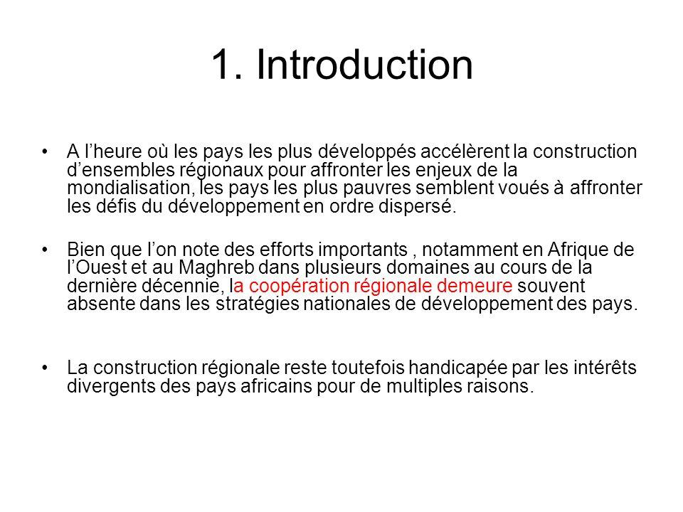 1. Introduction A lheure où les pays les plus développés accélèrent la construction densembles régionaux pour affronter les enjeux de la mondialisatio