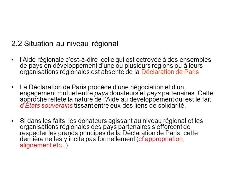 2.2 Situation au niveau régional lAide régionale cest-à-dire celle qui est octroyée à des ensembles de pays en développement dune ou plusieurs régions ou à leurs organisations régionales est absente de la Déclaration de Paris La Déclaration de Paris procède dune négociation et dun engagement mutuel entre pays donateurs et pays partenaires.