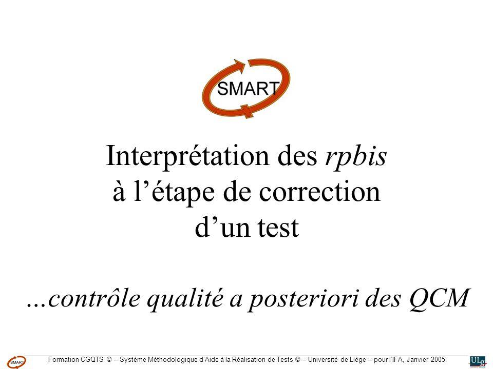 Formation CGQTS © – Système Méthodologique dAide à la Réalisation de Tests © – Université de Liège – pour lIFA, Janvier 2005 Interprétation des rpbis