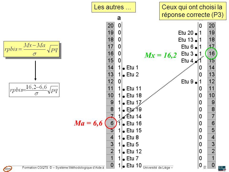 Formation CGQTS © – Système Méthodologique dAide à la Réalisation de Tests © – Université de Liège – pour lIFA, Janvier 2005 Ceux qui ont choisi la ré