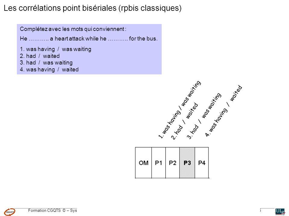 Formation CGQTS © – Système Méthodologique dAide à la Réalisation de Tests © – Université de Liège – pour lIFA, Janvier 2005 2.