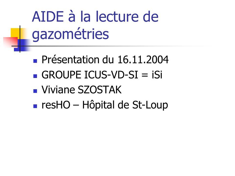 AIDE à la lecture de gazométries Présentation du 16.11.2004 GROUPE ICUS-VD-SI = iSi Viviane SZOSTAK resHO – Hôpital de St-Loup
