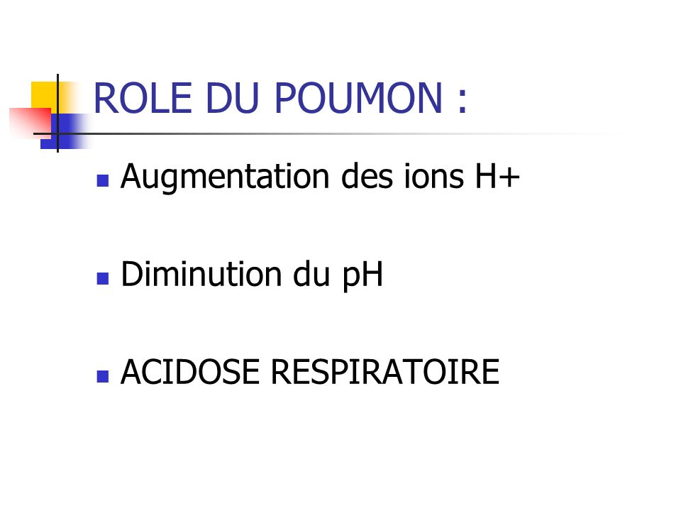 ROLE DU POUMON : Augmentation des ions H+ Diminution du pH ACIDOSE RESPIRATOIRE