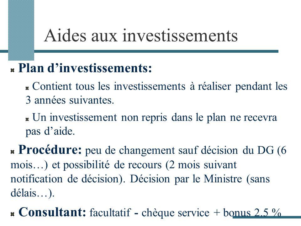 Aides aux investissements Plan dinvestissements: Contient tous les investissements à réaliser pendant les 3 années suivantes. Un investissement non re