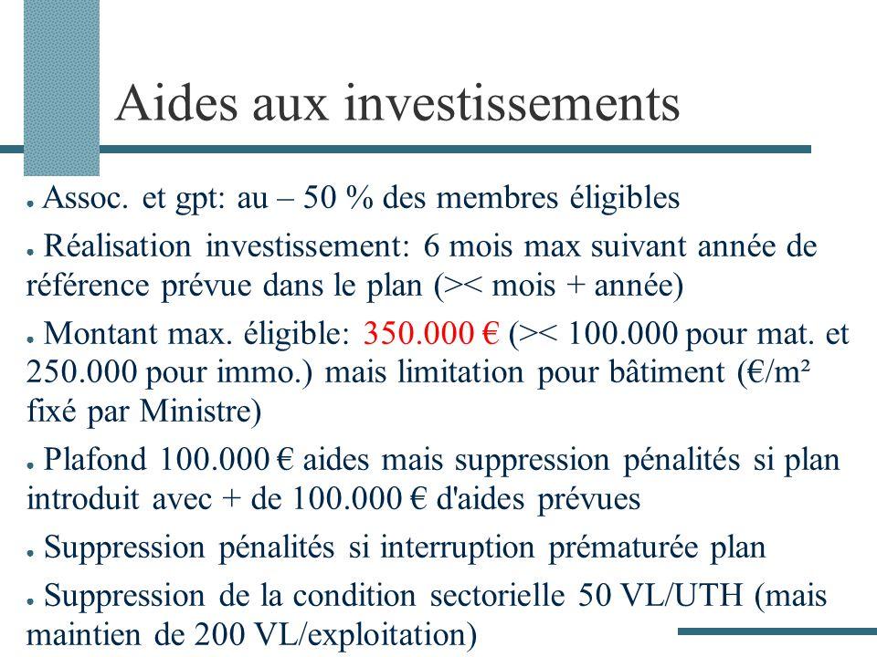 Aides aux investissements Assoc. et gpt: au – 50 % des membres éligibles Réalisation investissement: 6 mois max suivant année de référence prévue dans