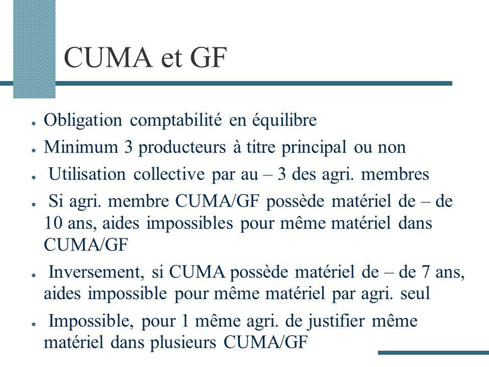 CUMA et GF Obligation comptabilité en équilibre Minimum 3 producteurs à titre principal ou non Utilisation collective par au – 3 des agri. membres Si