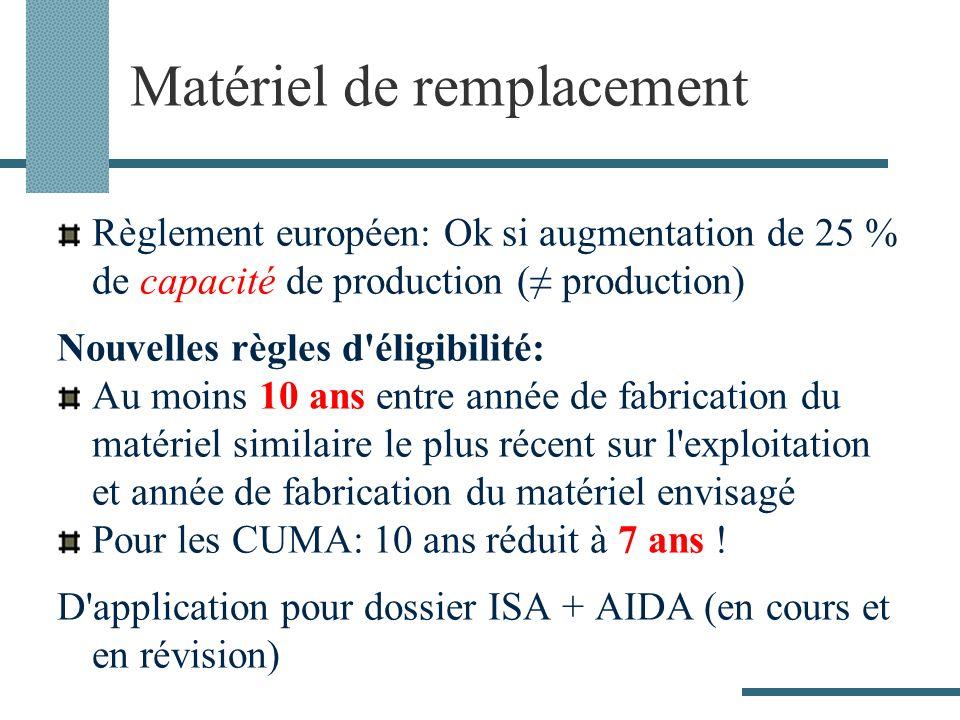 Matériel de remplacement Règlement européen: Ok si augmentation de 25 % de capacité de production ( production) Nouvelles règles d éligibilité: Au moins 10 ans entre année de fabrication du matériel similaire le plus récent sur l exploitation et année de fabrication du matériel envisagé Pour les CUMA: 10 ans réduit à 7 ans .