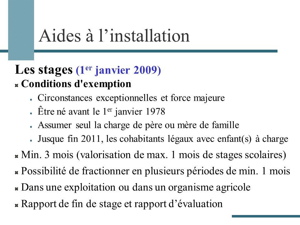 Aides à linstallation Les stages (1 er janvier 2009) Conditions d'exemption Circonstances exceptionnelles et force majeure Être né avant le 1 er janvi