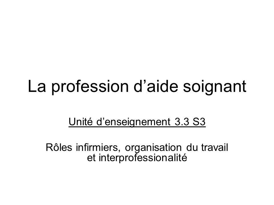 La profession daide soignant Unité denseignement 3.3 S3 Rôles infirmiers, organisation du travail et interprofessionalité