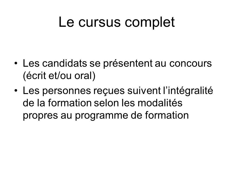 Le cursus complet Les candidats se présentent au concours (écrit et/ou oral) Les personnes reçues suivent lintégralité de la formation selon les modal