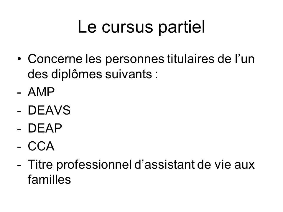 Le cursus partiel Concerne les personnes titulaires de lun des diplômes suivants : -AMP -DEAVS -DEAP -CCA -Titre professionnel dassistant de vie aux f