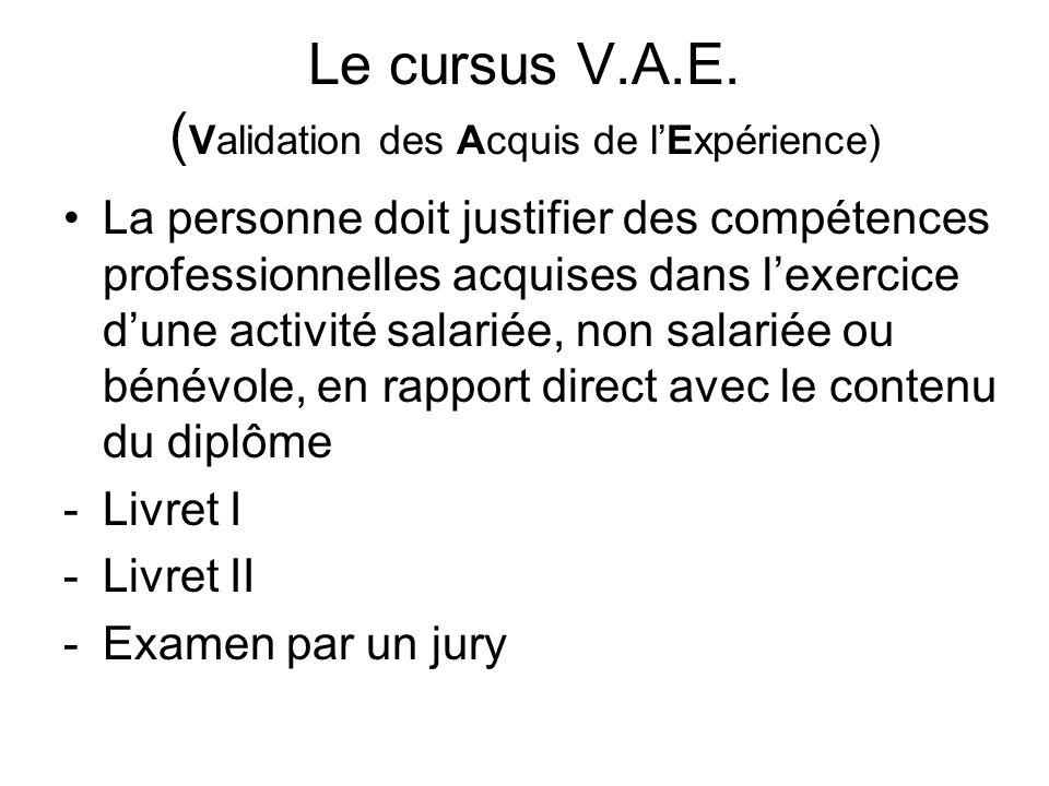Le cursus V.A.E. ( Validation des Acquis de lExpérience) La personne doit justifier des compétences professionnelles acquises dans lexercice dune acti