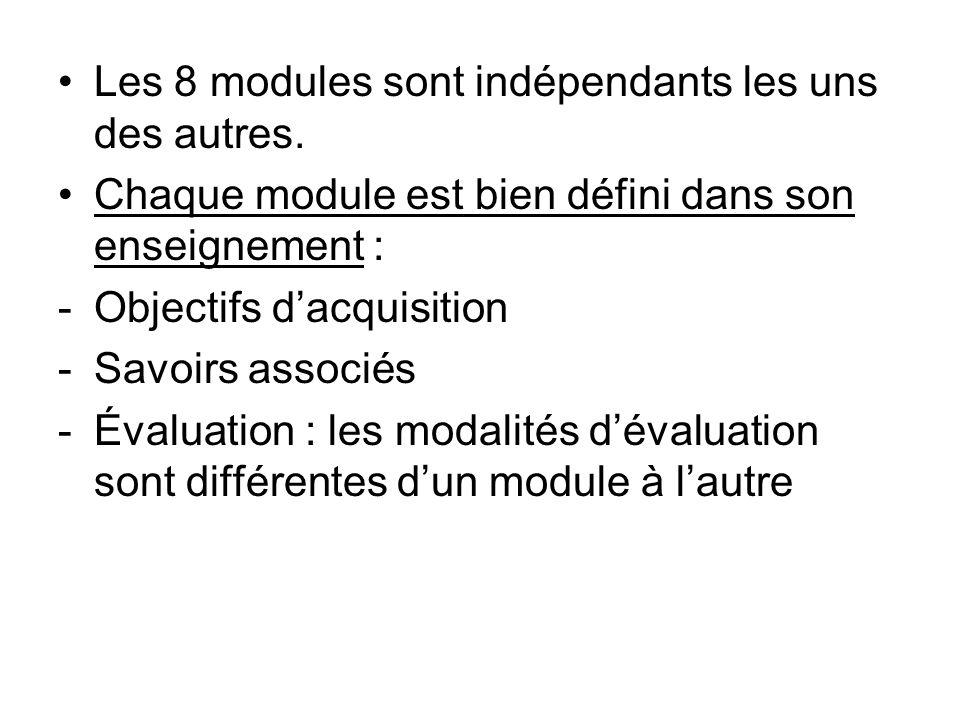 Les 8 modules sont indépendants les uns des autres. Chaque module est bien défini dans son enseignement : -Objectifs dacquisition -Savoirs associés -É