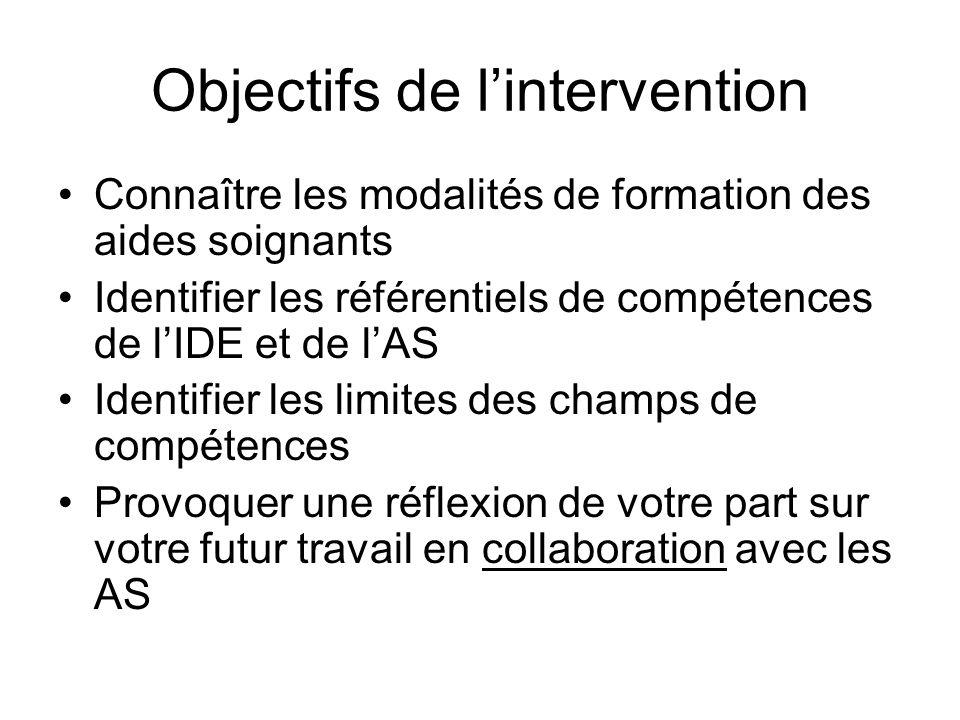 Objectifs de lintervention Connaître les modalités de formation des aides soignants Identifier les référentiels de compétences de lIDE et de lAS Ident