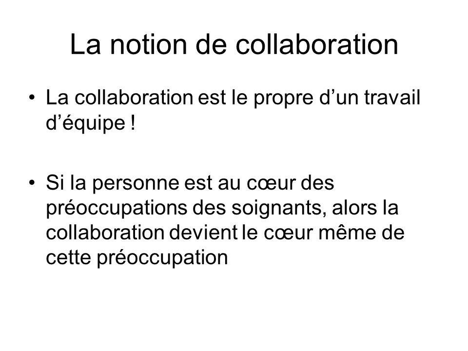 La notion de collaboration La collaboration est le propre dun travail déquipe ! Si la personne est au cœur des préoccupations des soignants, alors la