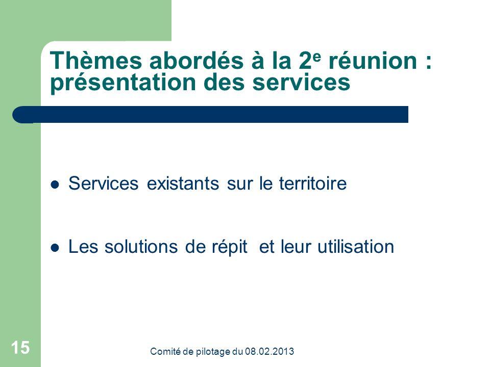 Comité de pilotage du 08.02.2013 15 Thèmes abordés à la 2 e réunion : présentation des services Services existants sur le territoire Les solutions de répit et leur utilisation