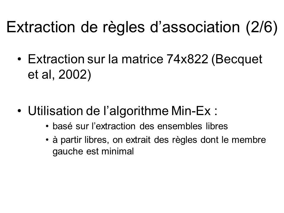 Extraction de règles dassociation (2/6) Extraction sur la matrice 74x822 (Becquet et al, 2002) Utilisation de lalgorithme Min-Ex : basé sur lextraction des ensembles libres à partir libres, on extrait des règles dont le membre gauche est minimal