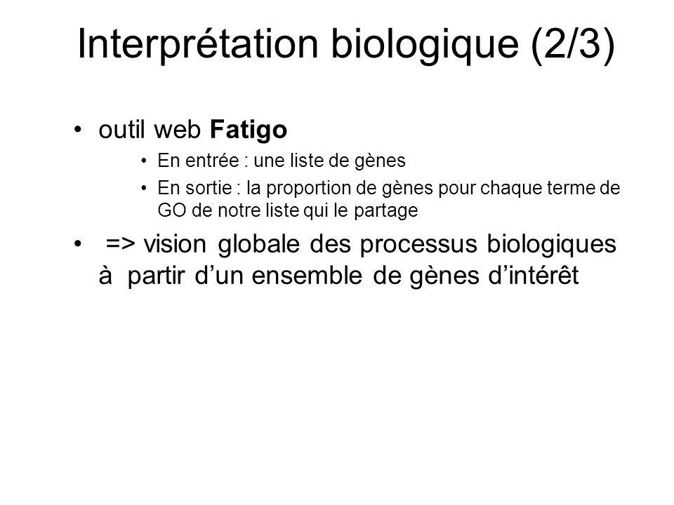 Interprétation biologique (2/3) outil web Fatigo En entrée : une liste de gènes En sortie : la proportion de gènes pour chaque terme de GO de notre liste qui le partage => vision globale des processus biologiques à partir dun ensemble de gènes dintérêt