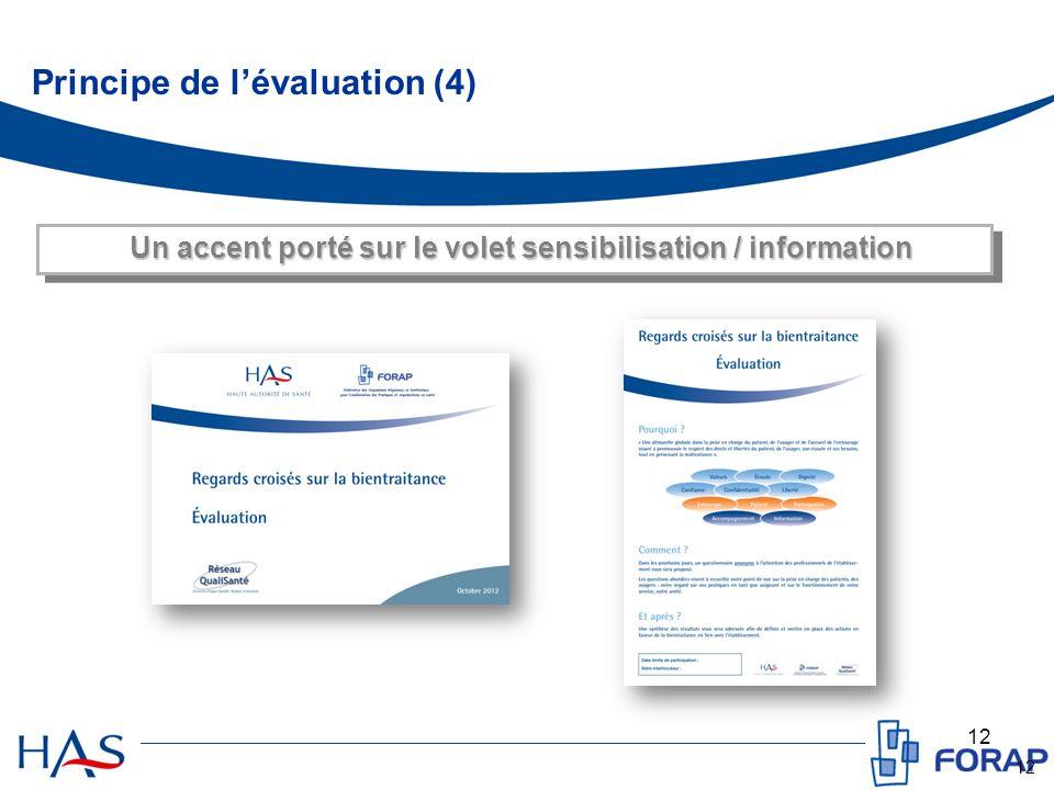 12 Un accent porté sur le volet sensibilisation / information Principe de lévaluation (4)
