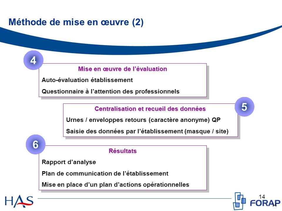 14 Méthode de mise en œuvre (2) Mise en œuvre de lévaluation Auto-évaluation établissement Questionnaire à lattention des professionnels Mise en œuvre
