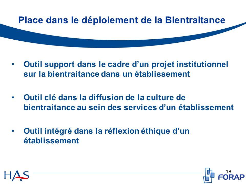 18 Place dans le déploiement de la Bientraitance Outil support dans le cadre dun projet institutionnel sur la bientraitance dans un établissement Outi