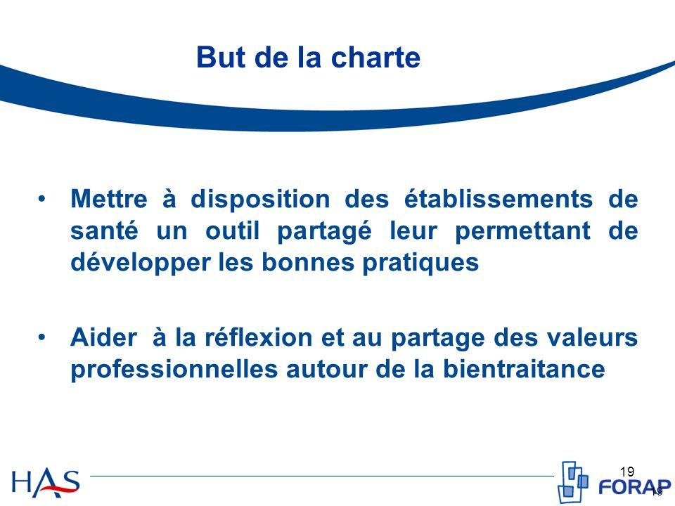 19 But de la charte Mettre à disposition des établissements de santé un outil partagé leur permettant de développer les bonnes pratiques Aider à la réflexion et au partage des valeurs professionnelles autour de la bientraitance