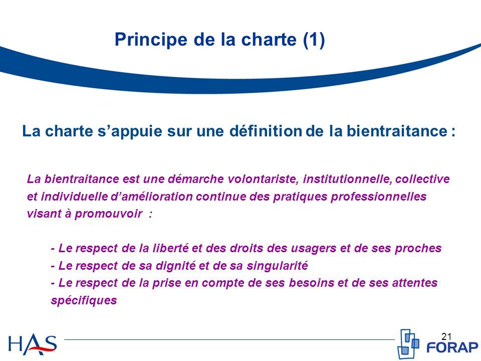 21 Principe de la charte (1) La bientraitance est une démarche volontariste, institutionnelle, collective et individuelle damélioration continue des p