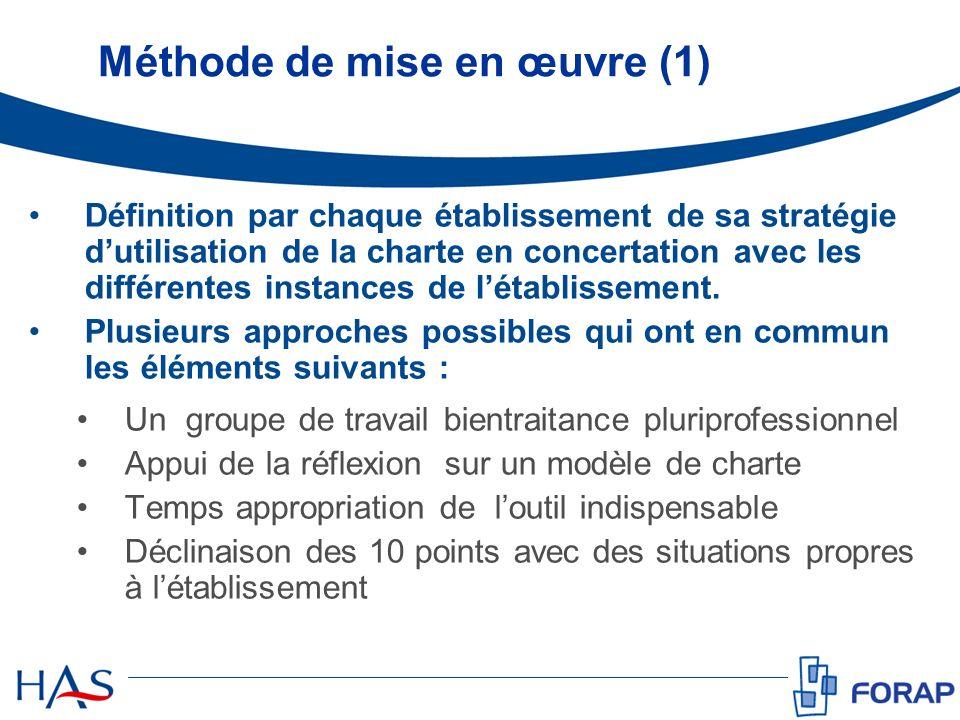 Méthode de mise en œuvre (1) Définition par chaque établissement de sa stratégie dutilisation de la charte en concertation avec les différentes instan