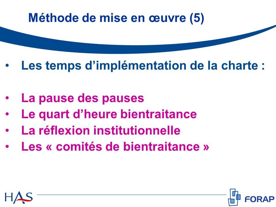 Méthode de mise en œuvre (5) Les temps dimplémentation de la charte : La pause des pauses Le quart dheure bientraitance La réflexion institutionnelle Les « comités de bientraitance »