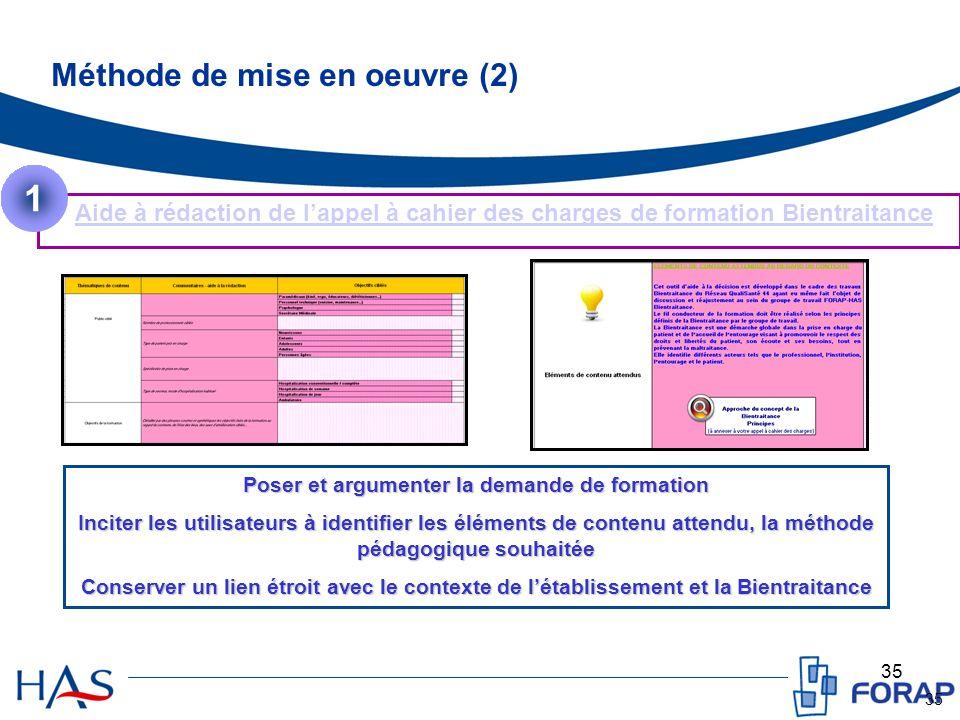 35 Méthode de mise en oeuvre (2) Aide à rédaction de lappel à cahier des charges de formation Bientraitance 1 Poser et argumenter la demande de format