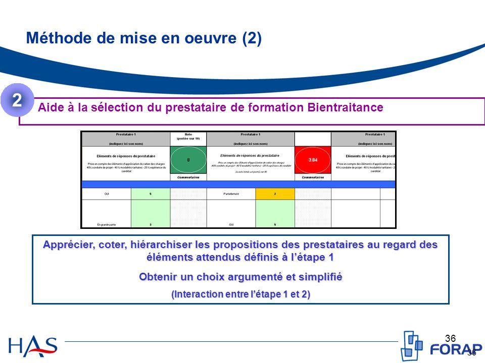 36 Méthode de mise en oeuvre (2) Aide à la sélection du prestataire de formation Bientraitance 2 Apprécier, coter, hiérarchiser les propositions des p