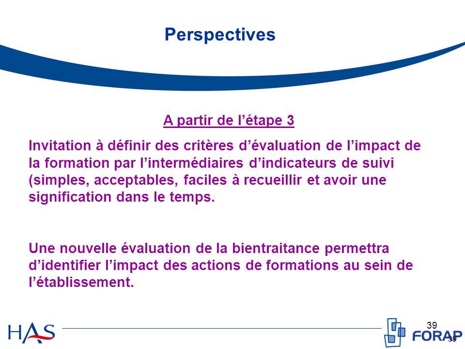 39 Perspectives A partir de létape 3 Invitation à définir des critères dévaluation de limpact de la formation par lintermédiaires dindicateurs de suivi (simples, acceptables, faciles à recueillir et avoir une signification dans le temps.
