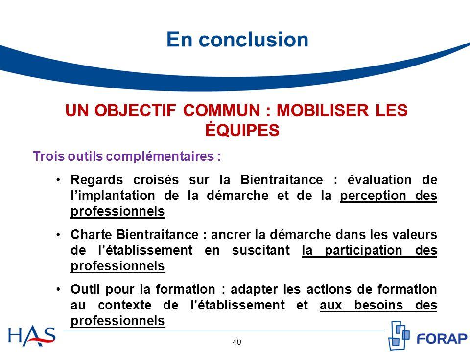 En conclusion 40 UN OBJECTIF COMMUN : MOBILISER LES ÉQUIPES Trois outils complémentaires : Regards croisés sur la Bientraitance : évaluation de limpla