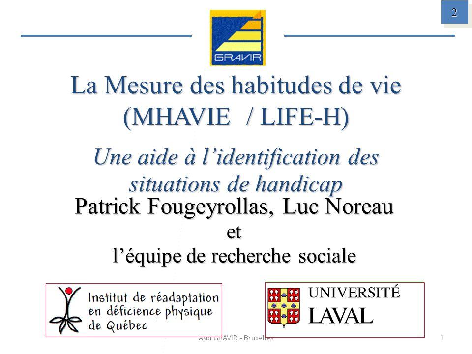 La Mesure des habitudes de vie (MHAVIE / LIFE-H) Une aide à lidentification des situations de handicap Patrick Fougeyrollas, Luc Noreau et léquipe de recherche sociale 2