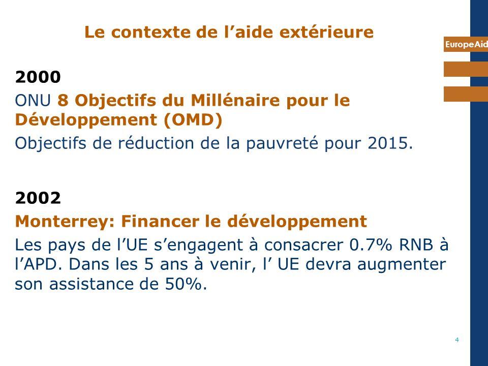 EuropeAid 4 Le contexte de laide extérieure 2000 ONU 8 Objectifs du Millénaire pour le Développement (OMD) Objectifs de réduction de la pauvreté pour 2015.