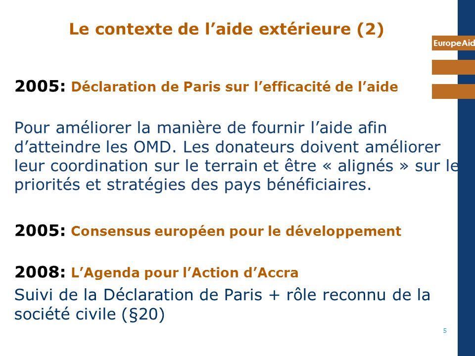 EuropeAid 5 Le contexte de laide extérieure (2) 2005: Déclaration de Paris sur lefficacité de laide Pour améliorer la manière de fournir laide afin datteindre les OMD.