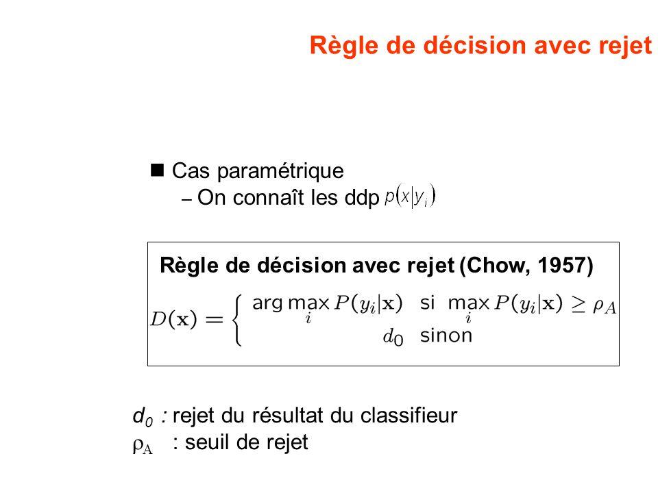 Règle de décision avec rejet Cas paramétrique – On connaît les ddp Règle de décision avec rejet (Chow, 1957) d 0 : rejet du résultat du classifieur :