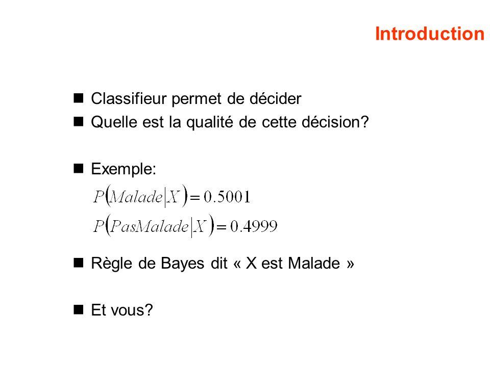 Introduction Classifieur permet de décider Quelle est la qualité de cette décision? Exemple: Règle de Bayes dit « X est Malade » Et vous?
