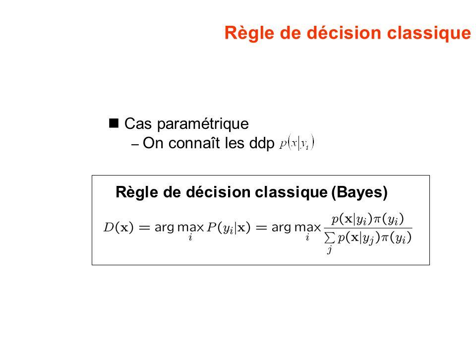 Règle de décision classique Cas paramétrique – On connaît les ddp Règle de décision classique (Bayes)