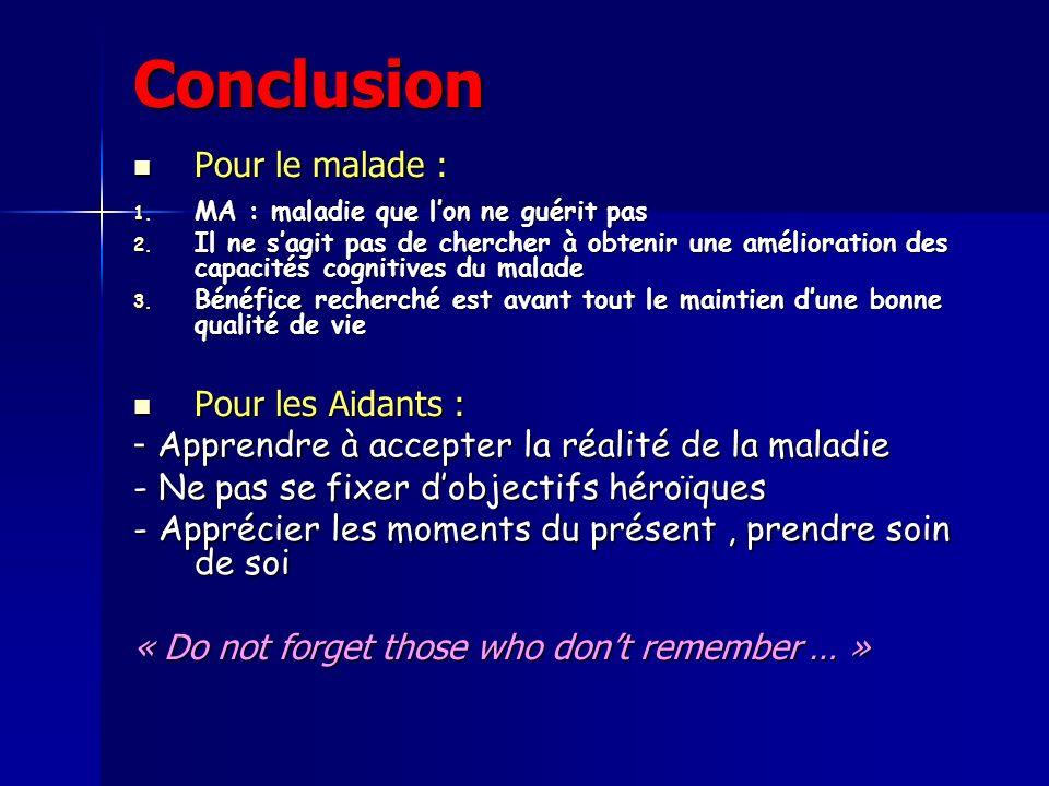 Conclusion Pour le malade : Pour le malade : 1.MA : maladie que lon ne guérit pas 2.