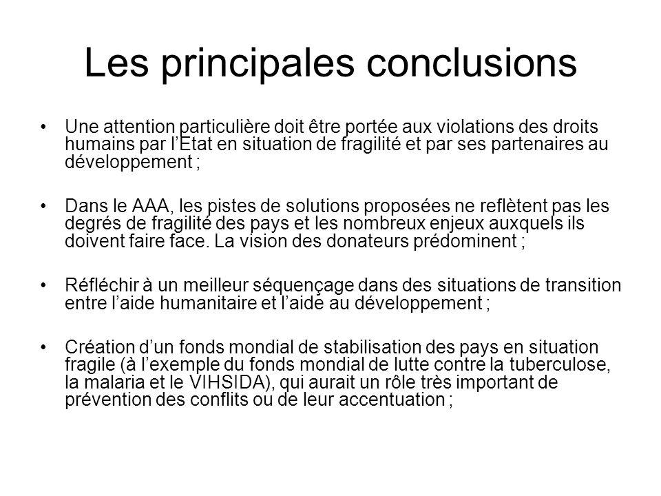 Les principales conclusions Une attention particulière doit être portée aux violations des droits humains par lEtat en situation de fragilité et par ses partenaires au développement ; Dans le AAA, les pistes de solutions proposées ne reflètent pas les degrés de fragilité des pays et les nombreux enjeux auxquels ils doivent faire face.